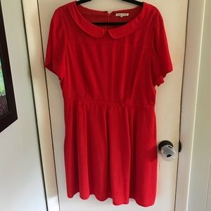 Madewell Red Dress with Peter Pan collar